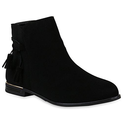 Stiefelparadies Damen Klassische Stiefeletten mit Blockabsatz Quasten Metallic Warm Gefüttert Schwarz Cabanas