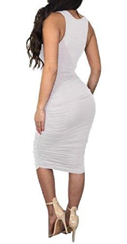 Coolred Step Women One Nightclub Neck Dress Ruffle Bodycon Sleeveless White Crew SHRCqxwT6S