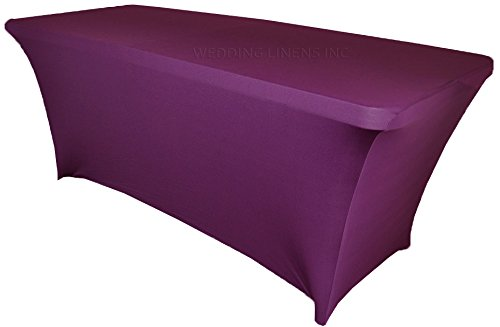 (Wedding Linens Inc. Wholesale (200 GSM) 6 FT Rectangular Spandex Stretch Fitted Table Cover Tablecloths Purple)