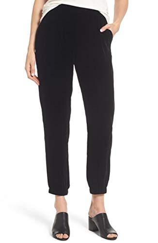 Eileen Fisher Black Velvet Ankle Pant Size L MSRP $238
