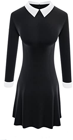 TULIPTREND Women`s Peter Pan Collar Fit and Flare Dresses Halloween Costume Wednesday Addams Dress