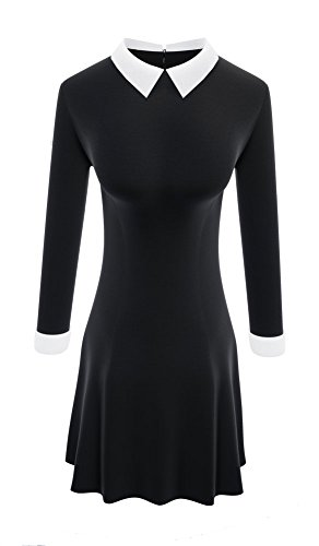 TULIPTREND Women's Celebrity Peter Pan Collar Wear Work Fitted Dresses, Black, X-Small]()