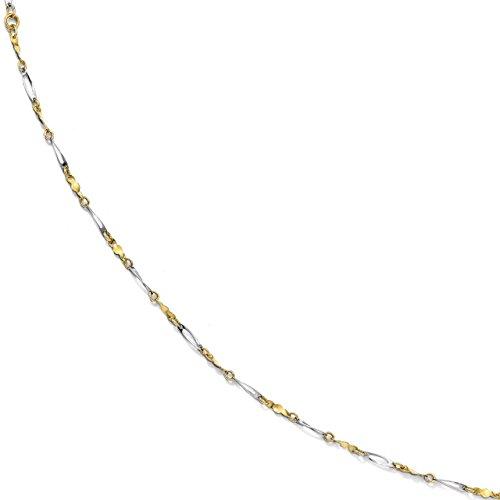 - Lex & Lu Leslie's 10k Two-tone Gold Polished Fancy Link Anklet-Prime