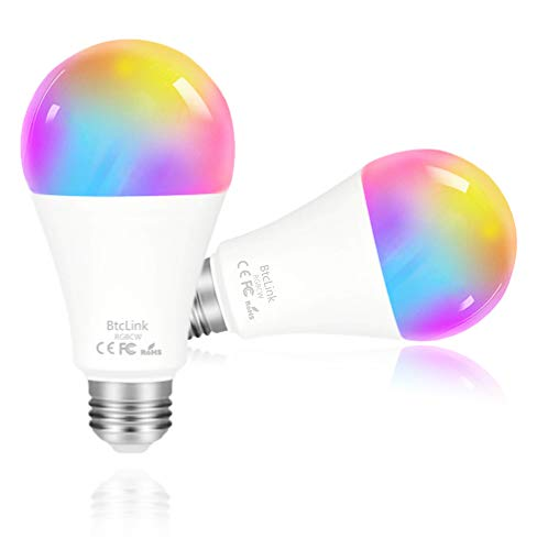 Smart Light Bulb, Dimmable Soft White Multicolor Smart WiFi LED Bulb – No Hub Required, Color Changing Light Bulb 7W(80W), BtcLink Smart WiFi Light Bulb Compatible with Alexa, Google, IFTTT