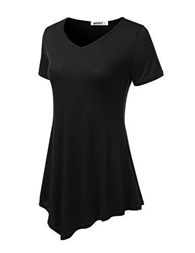 TWINTH Womens Short Sleeve Asymmetrical Hem Tunic Shirt? Plus Size Black ()