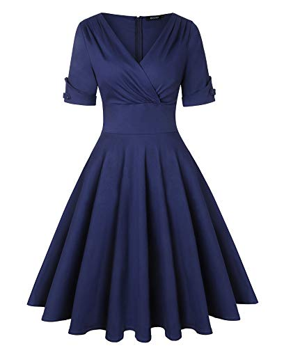 ROOSEY Women's Vintage Tea Party Dress Retro V Neck Cocktail Dress Navy Blue (Navy Cocktail Blue)