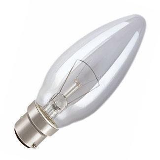 10 X 60 Watt Bc B22 Clear Candle Lamp