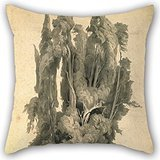 Artistdecor 18 X 18 Inches / 45 By 45 Cm Oil Painting Johann Wilhelm Schirmer - Cypresses In The Park At Villa Dâ€TMEste In Tivoli Pillow Covers,twin Sides Is Fit For Gf,monther,kids,couch,dining Ro