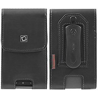 Asus PadFone X Mini - (Oversized Case to accommodate Skin or Cover on you phone) Executive Vertical Leather Case Pouch Built In Magnetic Flap and 2 Belt Clips (Fixed & Swivel)
