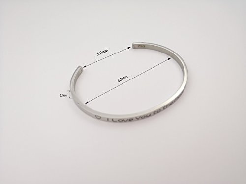 YWJ I Love You to the Moon and Back' Cuff Bangle Love Bracelet for Women Wife Girlfriend Mom Her by YWJ (Image #2)