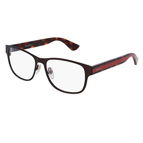 Gucci GG 0007O 004 Black Metal Rectangle Eyeglasses 55mm