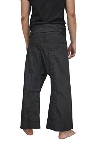 (Casual Thai Fisherman Long Pants,Yoga Meditation Kung Fu Tai Chi Trousers, Pregnancy Pants, Unisex (Black))
