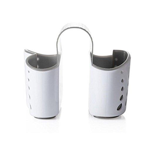 Coohole Creative Sponge Holder Sink Caddy Soap Holder Kitchen Plastic Storage Baskets (White) (Stoneware Sink)