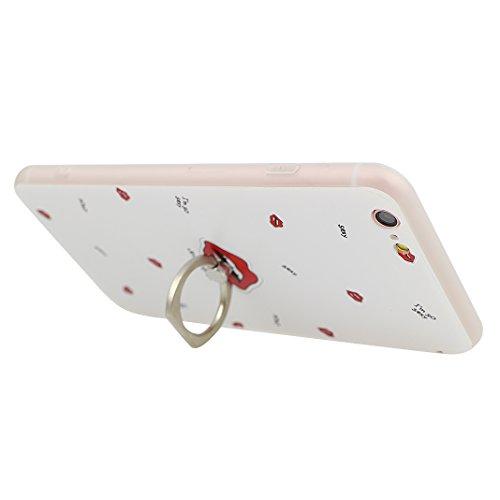 iPhone 6 Plus TPU Funda, iPhone 6S Plus Carcasa, Moon mood® 3D Relieve Pintura Cáscara del Teléfono con Anillo Sostenedor Trasero Caso Cubierta Caja para iPhone 6 Plus/6S Plus 5.5 pulgadas Back Case C Estilo-6