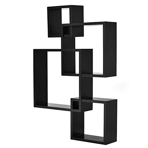 Giantex 4 Cube Intersecting Floating Shelves Square Wall Mounted Shelves Wood Home Furniture Accent Decorative Wall Shelf, Black (Floating Shelves Ideas Modern Decorating)