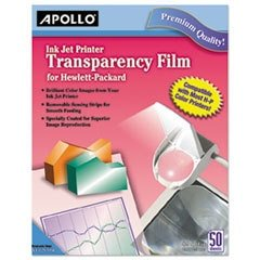- Quick-Dry Color Inkjet Transparency Film W/handling Strip, Letter, Clear, 50/box