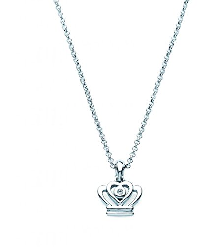 Little Diva Diamonds Diamond Accent Princess Crown Pendant Necklace in 925 Sterling Silver, 16