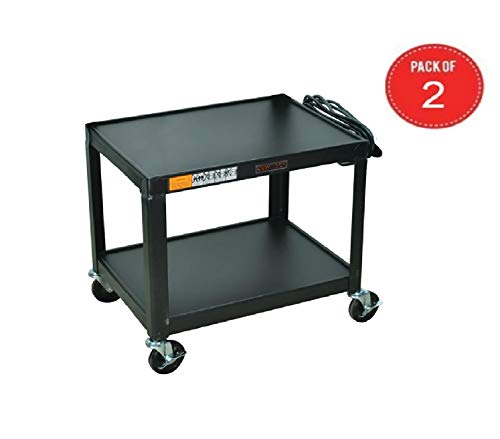 Luxor Black Metal 2 Shelf Multipurpose Steel AV Cart Pack of 2