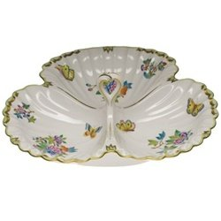 Herend Queen Victoria Three Section Shell Dish