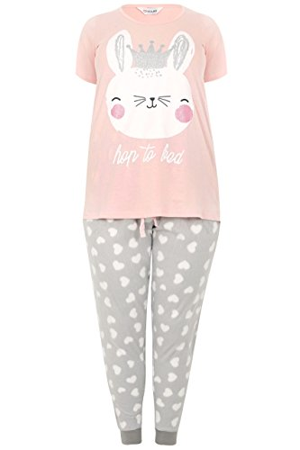 YoursClothing Plus Size Womens 'Hop To Bed' Bunny Print Pyjama Set, Plus Size 16 To 36 Size 16-18 Pink
