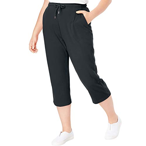 Woman Within Women's Plus Size Sport Knit Capri Pant - Black, S