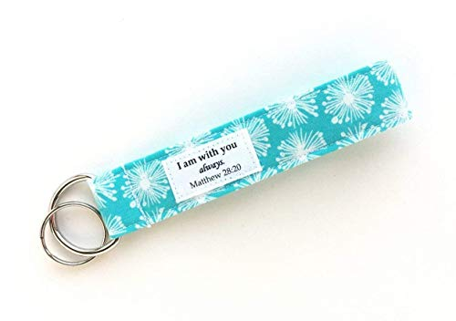 Keychain Wristlet - Fabric Wrist Lanyard with Bible Verse - I am With You Always