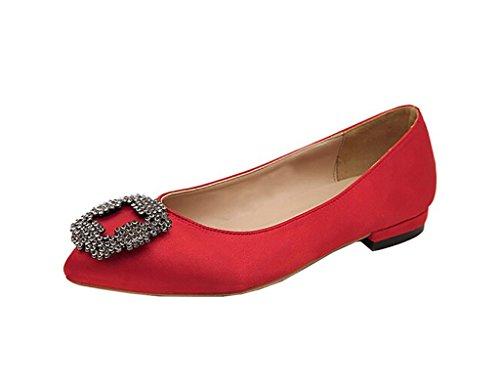 Arc-en-Ciel zapatos de mujer pisos de punta redonda Rojo