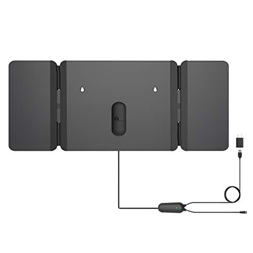 1byone TV Antenna [2019 Newest] Unique Foldable Antenna, 120 Miles Indoor TV Antenna for Digital Freeview 4K 1080P VHF UHF Local Channels with Siginal Amplifier Support All TV's - 16.5 ft Coax Cable (The Best Indoor Digital Antenna)