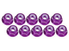 Lock Flanged Aluminum Nut (3Racing #3RAC-NF30/PU 3mm Aluminum Flanged Lock Nuts (10 Pcs) - Purple for 3Racing All)