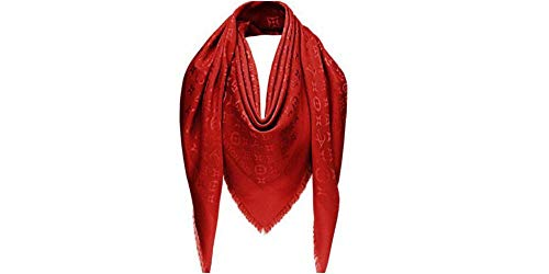 Women's Designer Silk Scarf Red & Gold Iconic Monongram Logo Print Travel and Fashion Accessory Wrap Designer Pashmina in Red LV Monogram Logo Print Cashmere Unisex Large 69X73