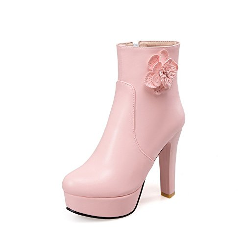 Women's High-Heels Solid Round Closed Toe Soft Material Zipper Boots With Metal