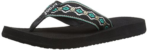 Reef Women's Sandy Sandal, Black/Blue/Metallic, ()