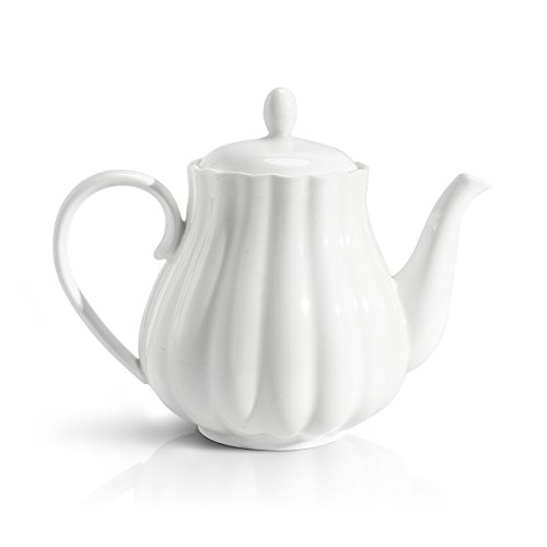 Sweese 2301 Teapot Pumpkin Fluted Shape, White - 28 Ounce