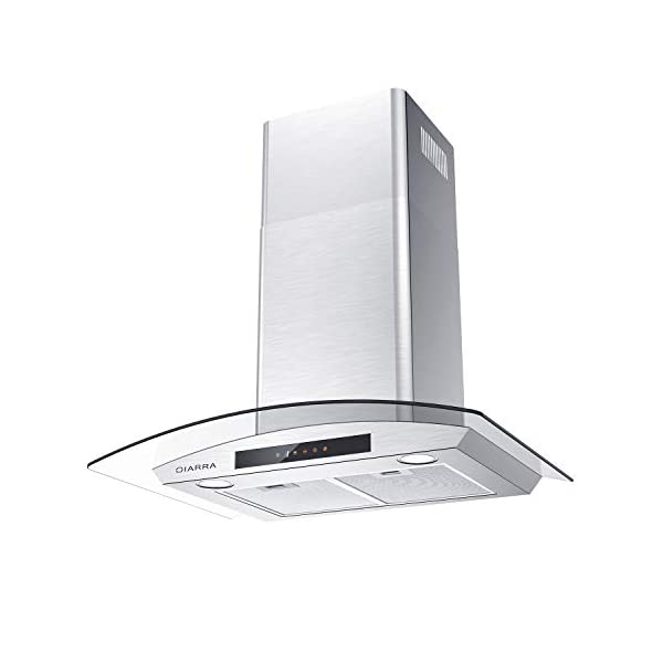 CIARRA 30″ Wall Mount Range Hood Touch Control,LED Lights,3 Speeds,450 CFM,Tempered...