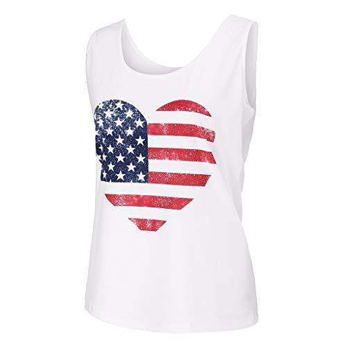 (MTENG Womens Sleeveless Vest Tank Top Patriotic Stripes Star Print American Flag)