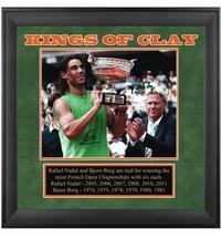 Roland Garros Clay (Rafael Nadal Autographed Picture - & Bjorn Borg Kings of Clay - Autographed Tennis Photos)