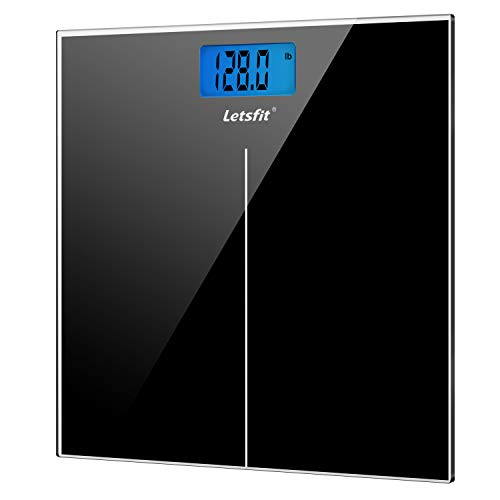 Letsfit Digital Body Weight Scale, Bathroom Scale with Large Backlit Display, Step-On Technology, High Precision Measurements, 400 Pounds 180kg Max, 6mm Tempered Glass (Bath Scales Digital Body Fat)