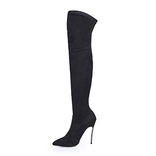 (Dormery Winter Women Boots Stretch Slim Thigh High Boots Fashion Over The Knee Boots High Heels Shoes Woman Sapatos Black 8.5)
