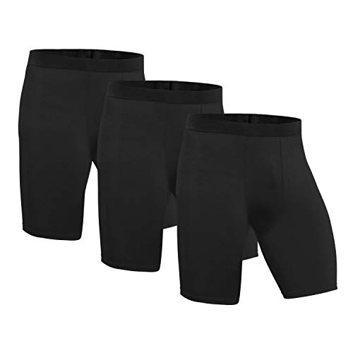 Niksa 3 Pack Compression Shorts Men Quick Dry Black Performance Athletic Shorts-M