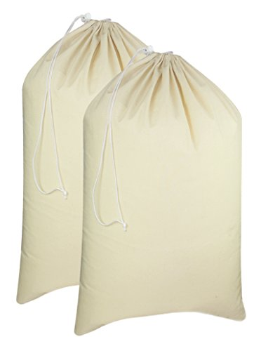 (Cotton Craft - 2 Pack Extra Large 100% Cotton Canvas Heavy Duty Laundry Bags - Natural Cotton - 28