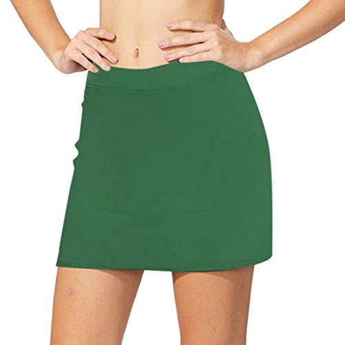 〓COOlCCI〓Women's Active Athletic Skort Lightweight Skirt for Running Tennis Golf Workout Shorts Running Skorts Green