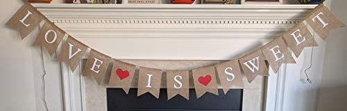 Love is Sweet Burlap Banner - Valentine's Day Party Bunting Garland - Wedding Reception Engagement Valentines Day - Bridal Shower Save The Date - Photo Prop Decorations by Jolly Jon ®