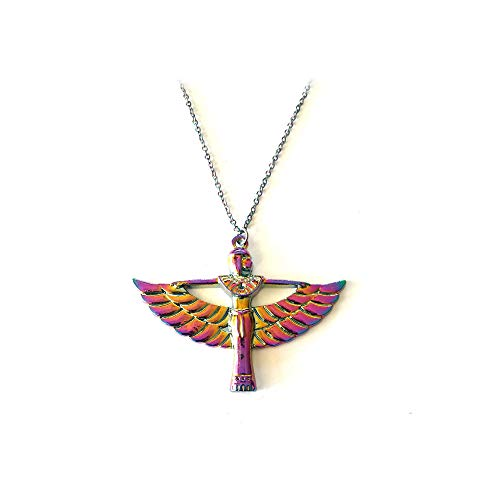 (Joji Boutique Egyptian Collection: Rainbow-Effect Winged Isis Necklace)
