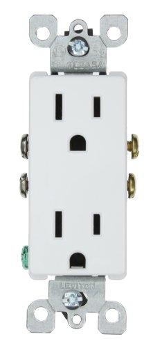 Leviton 5325-W 15 Amp, 125 Volt, Decora Duplex Receptacle, Residential Grade, Grounding, White