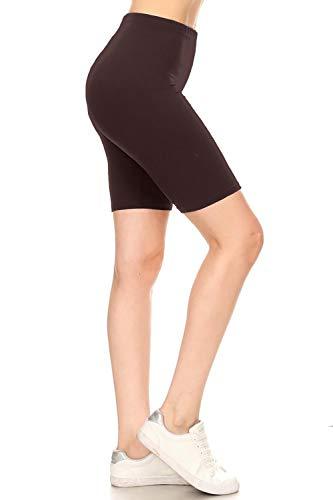 Leggings Depot LBKX128-BROWN-1X High Waist Solid Biker Shorts, 1X Plus