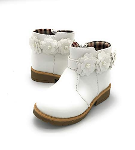 Blue Berry EASY21 Girls Fashion Cute Toddler/Infant Winter Snow Boots 01WHITE,10 (Boots Parks)