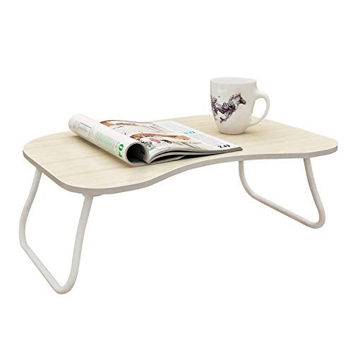 MULSH Laptop Desk Bed Table Notebook Table Bed Tray Table Breakfast Serving Tray For Sofa Bed with Foldable Metal Legs and MDF Top Board in White Oak,23.62