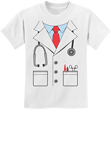 White Coat Doctor's Costume Funny Halloween Youth Kids T-Shirt Small White