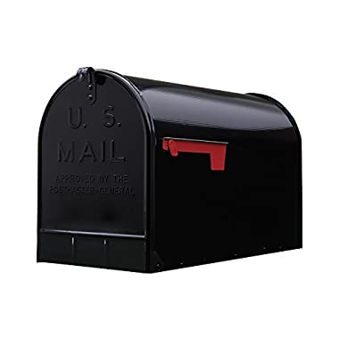 Gibraltar Stanley Extra-Large Capacity Galvanized Steel Black, Post-Mount Mailbox, ST200B00