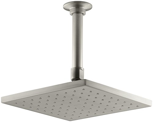 KOHLER 45200-BN Contemporary Square Rainhead with Katalyst Air-Induction Spray, 2.0 GPM, 8-Inch, Vibrant Brushed Nickel